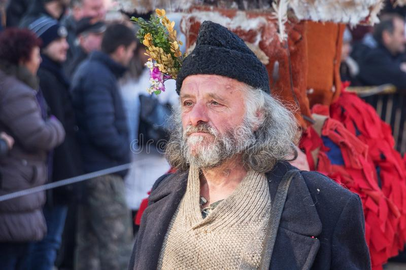 A participant in Festival of Masquerade games `Surva`. Portrait of senior man with a beard, a participant in International Festival of Masquerade games `Surva` royalty free stock images