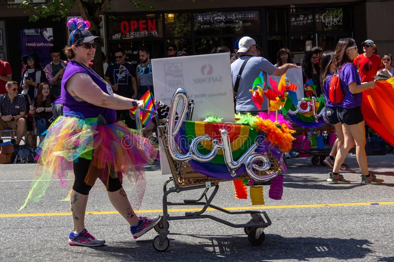 Vancouver, British Columbia, Canada - August 4, 2019: People take part in the Vancouver Gay Pride Parade 2019 stock images