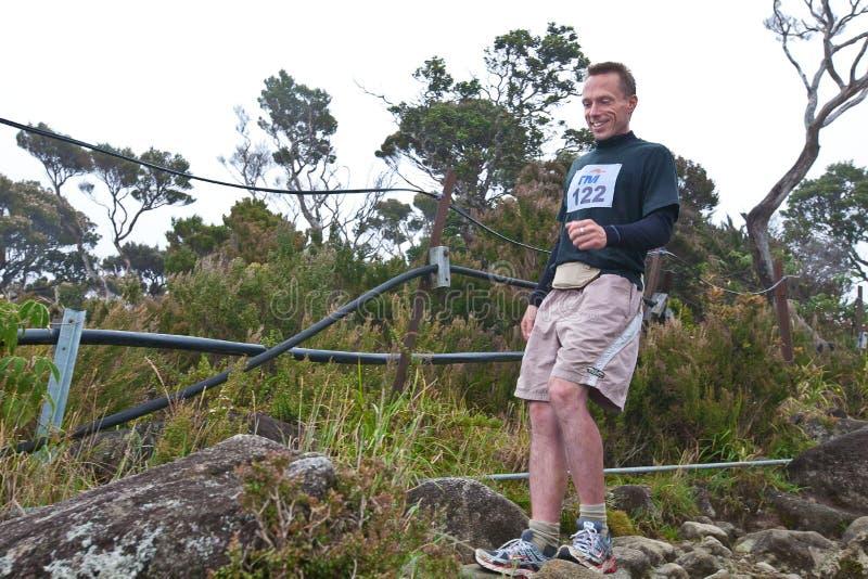 Participant running down Mt Kinabalu