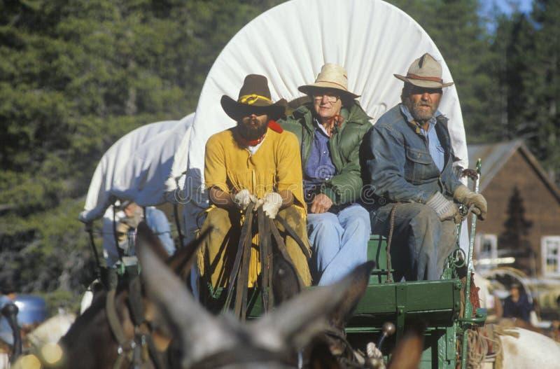 Participantes vivos de la historia en tren de carromatos cerca de Sacramento, CA imagen de archivo