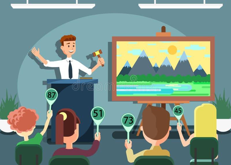 Participantes y subastador que anuncian precios ilustración del vector