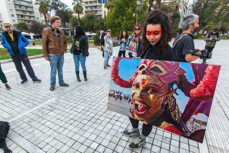 Participants actions of contemporary art - Burning Man Walking Photo Exposition on territory National Archaeological Museum. ATHENS, GREECE - MAR 28, 2015 stock image