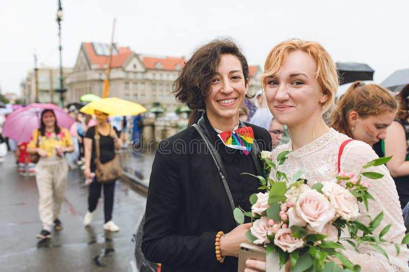 Participants of the annual Prague Pride parade stock photography