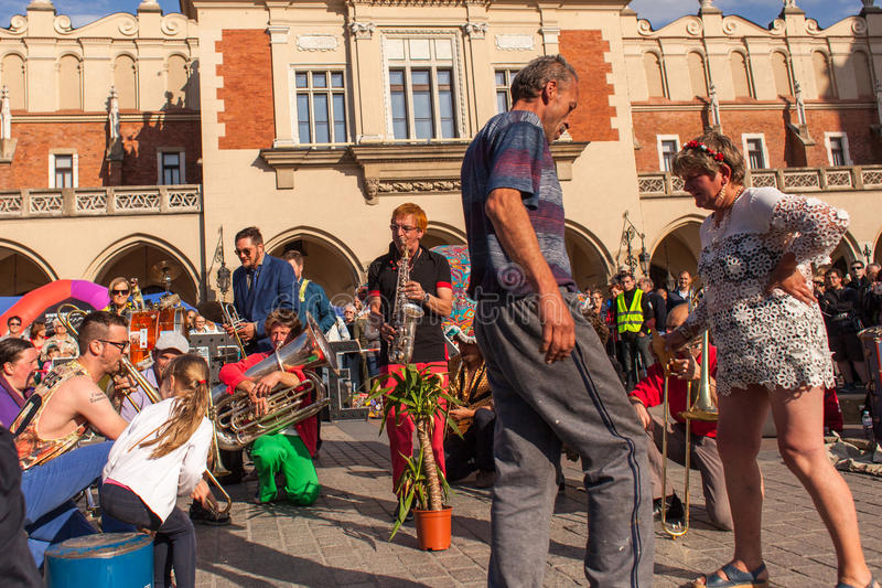 Participants at the annually (Jul 9-12) 28th International Festival of Street Theatres. KRAKOW, POLAND - JUL 11, 2015: Participants at the annually (July 9-12) royalty free stock photography