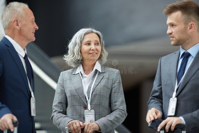 Participants of business forum stock images