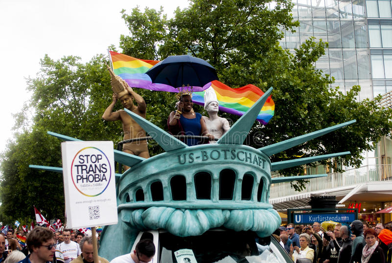 Participants of Christopher Street Day in Berlin. BERLIN, GERMANY - JUNE 21, 2014: Christopher Street Day.Crowd of people Participate in the parade celebrates stock photo