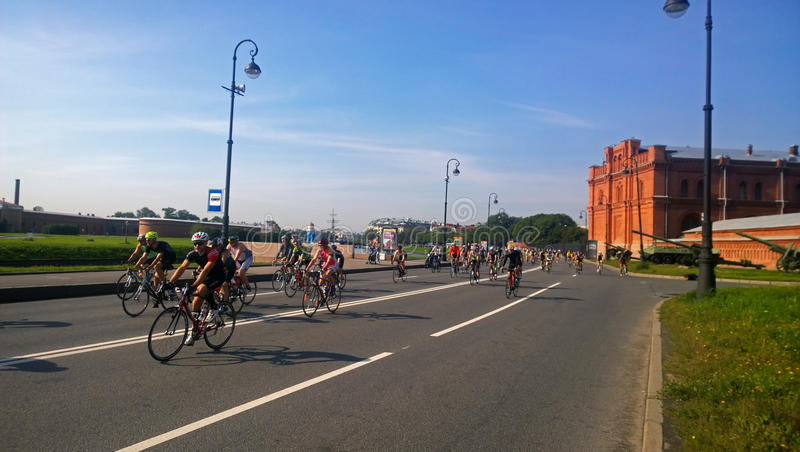 Participants of the Cycling stage of the triathlon stock photography