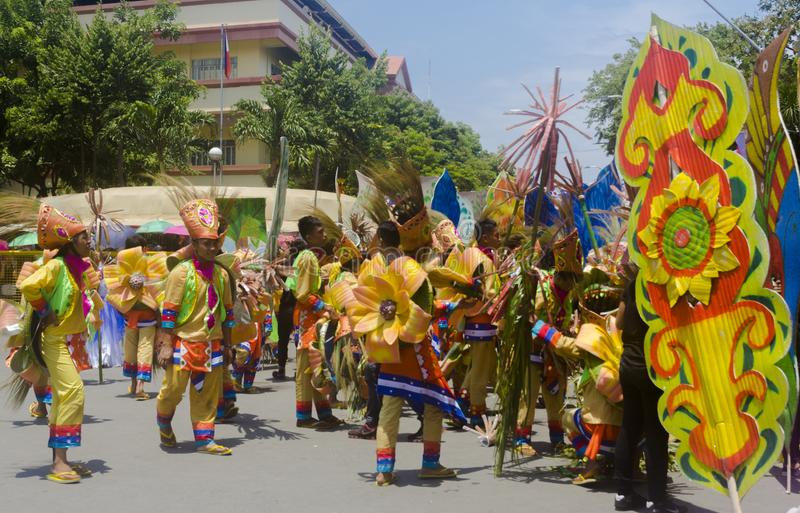 Participants of Davao`s Idadk-Indak during Kadayawan Festival 2018. Davao, Philippines - August 18, 2018: Participants of Davao`s Idadk-Indak during Kadayawan stock photo