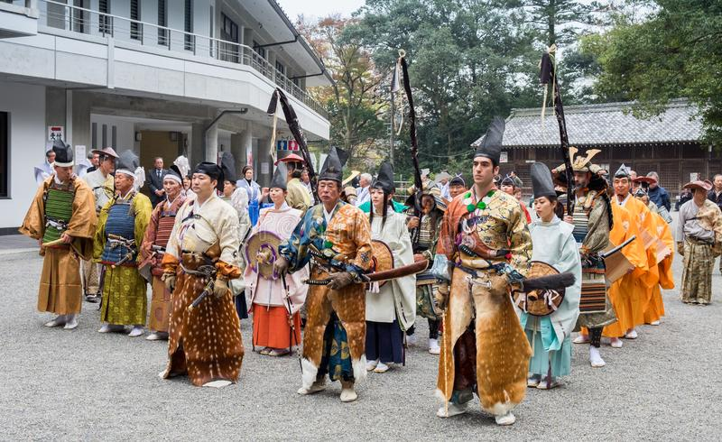Participants of Festival Yabusame - a type of mounted or horseback archery in traditional Japanese style stock image