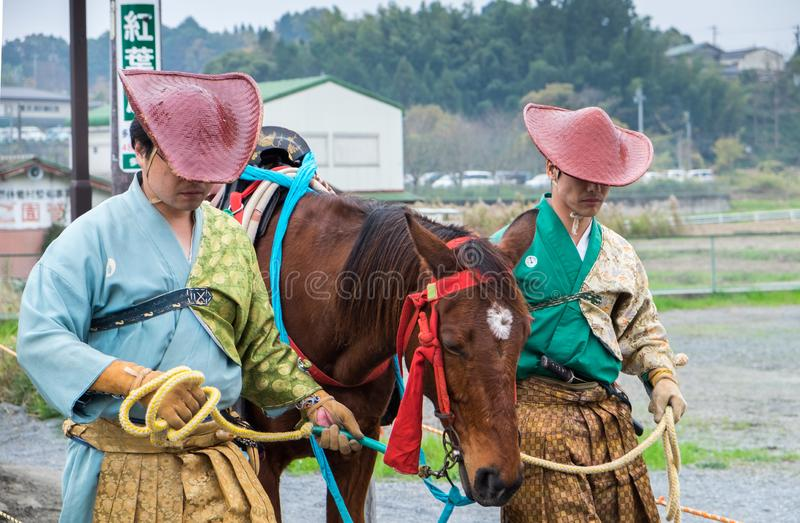 Participants of Festival Yabusame - a type of mounted or horseback archery in traditional Japanese style royalty free stock photography