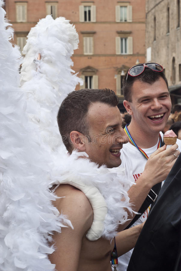 Participants at gay pride 2012 of Bologna