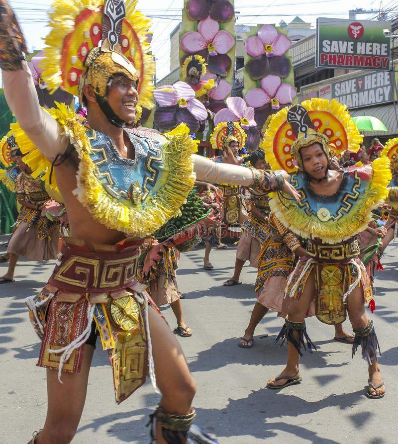 Participants of Kadayawan festival performs royalty free stock images