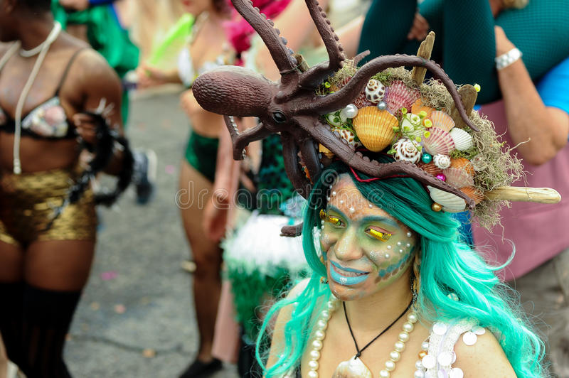 Participants march in the 35th Annual Mermaid Parade at Coney Island royalty free stock photo