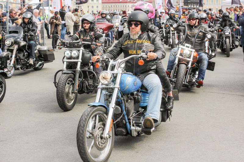 Participants in a motorcycle parade on motorcycles royalty free stock photography