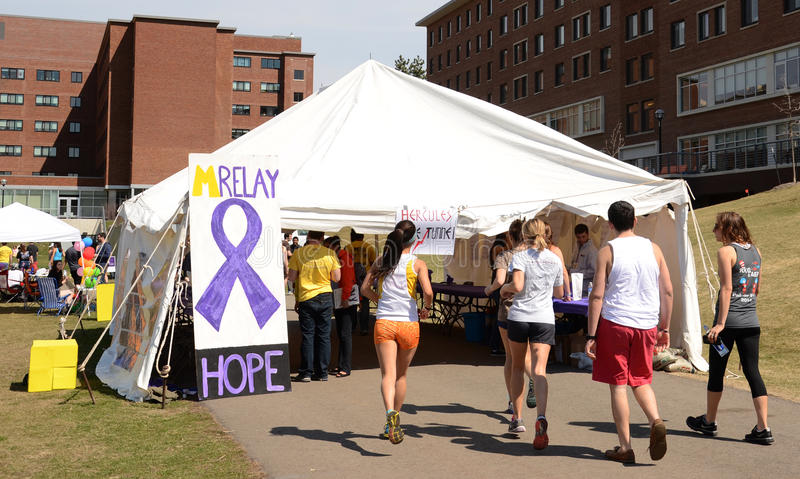 Participants at University of Michigan Relay for Life event 2014 stock image