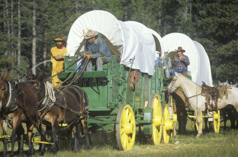 Participants vivants d'histoire au wagon de train près de Sacramento, CA image libre de droits