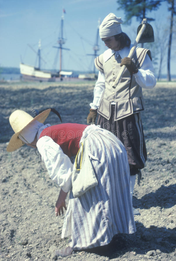 Participants working on beach. Outside of historic Jamestown, Virginia, site of the first English settlement stock images