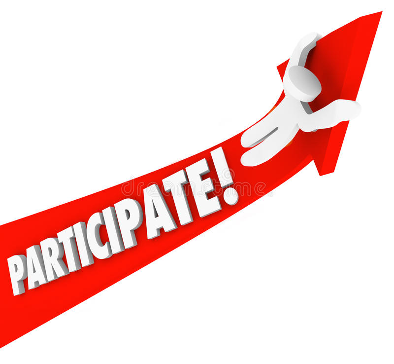 Participate Arrow Person Riding Participation to Success. The word participate on a red arrow and a person riding up to illustrate joining a club, association or vector illustration