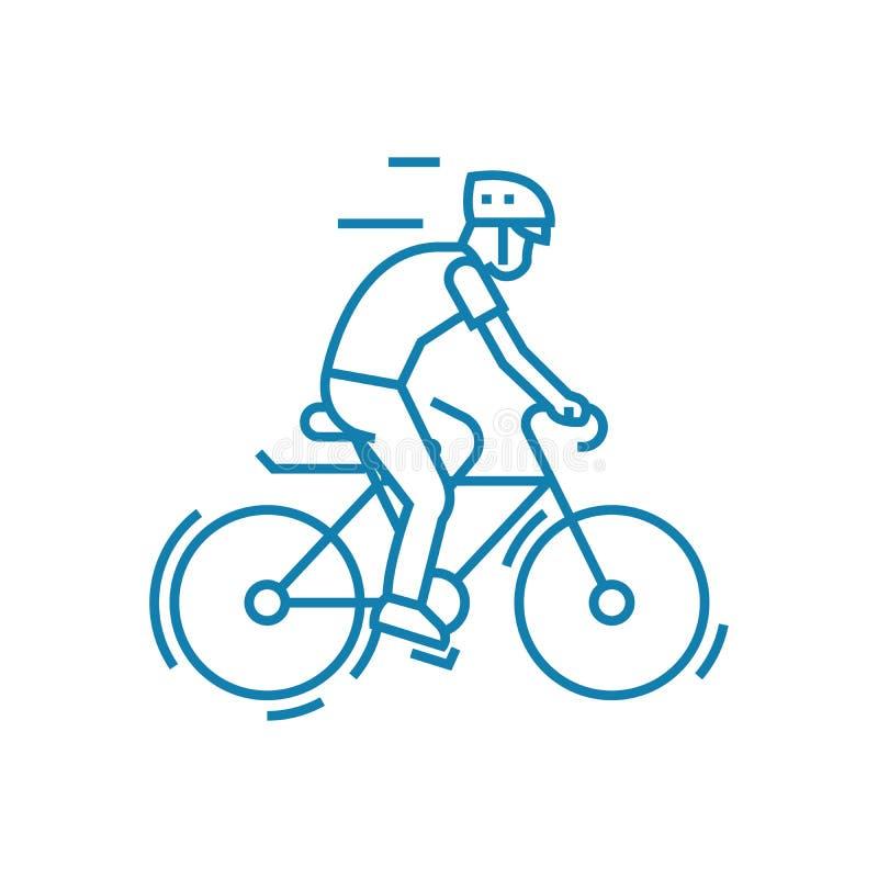 Participation à faire un cycle le concept linéaire d'icône Participation à la ligne de recyclage signe de vecteur, symbole, illus illustration de vecteur