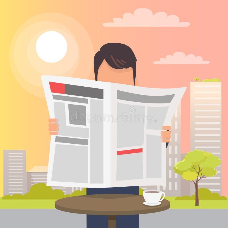 Participation d'homme et journal de lecture près de Tableau illustration de vecteur