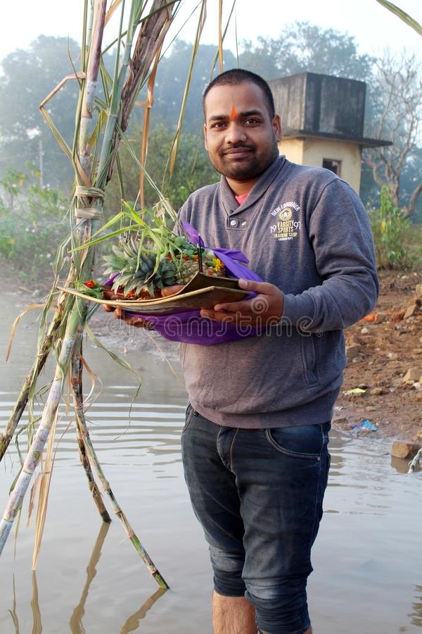 Participation Daura à disposition sur Chhath Puja photographie stock libre de droits