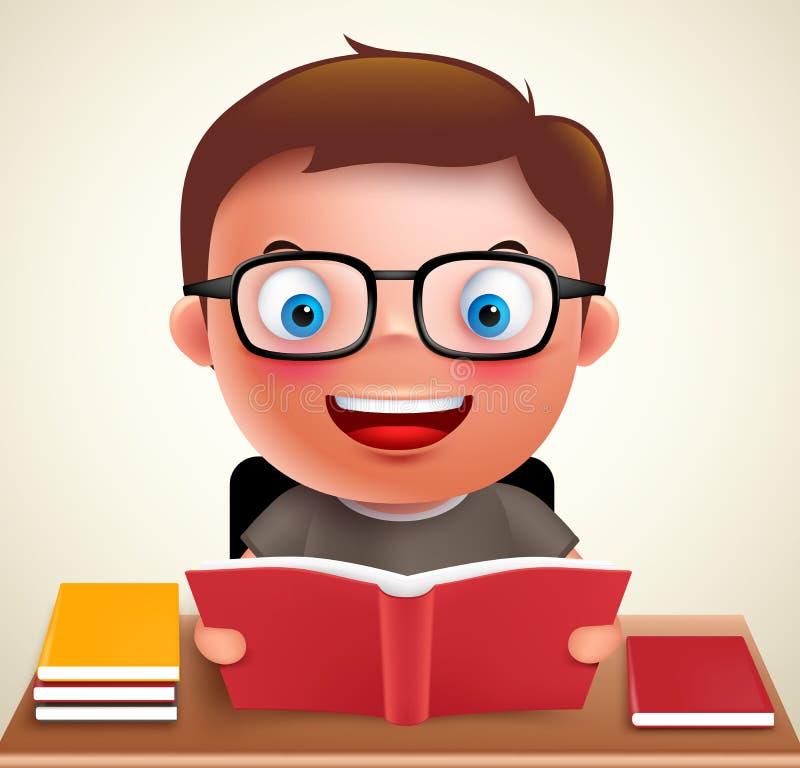 Participation de caractère de vecteur d'enfant de garçon et livre de lecture préscolaires futés illustration de vecteur