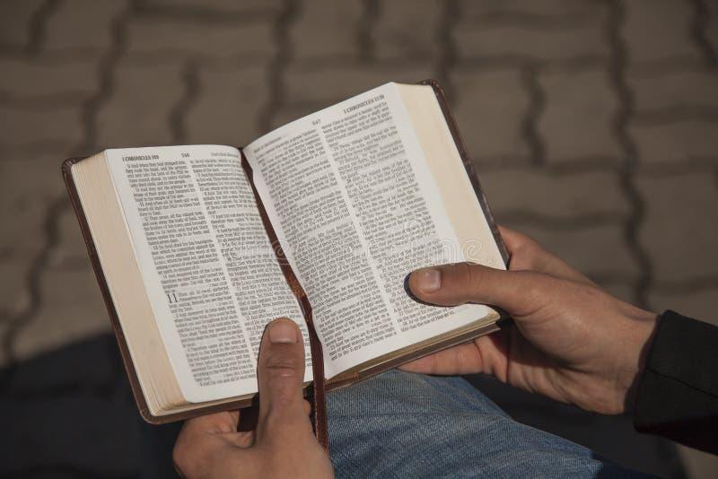 Participation de jeune homme et Sainte Bible de lecture photo stock