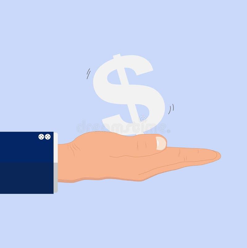 Participation de main de l'homme des affaires secouant le symbole dollar, concept financier d'économie d'opérations bancaires d'a illustration libre de droits