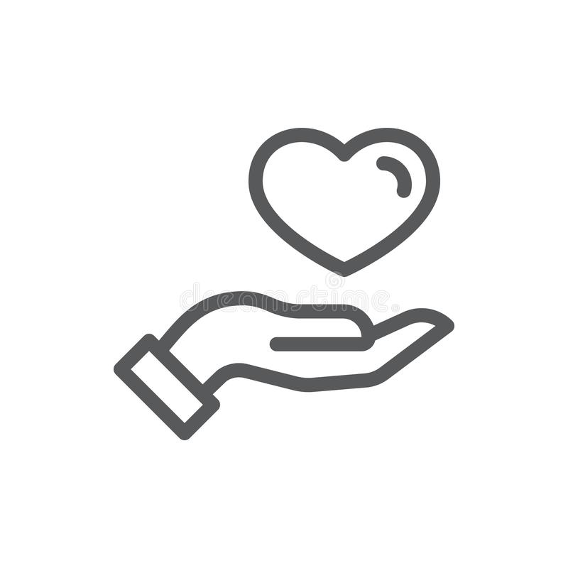 Participation humaine de main ou donner à coeur la ligne mince icône avec la course editable illustration stock