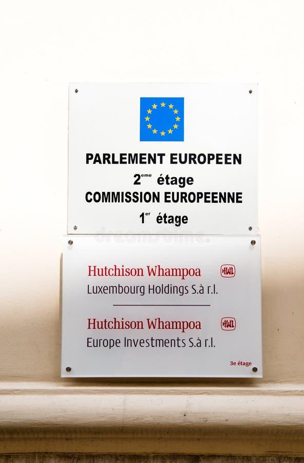 Participations et investissements de Hutchinson Whampoa Luxembourg sous l'EUR images libres de droits