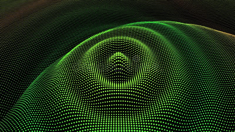 Particle 3D wavy ripple effect. Color Grid surface royalty free stock photos