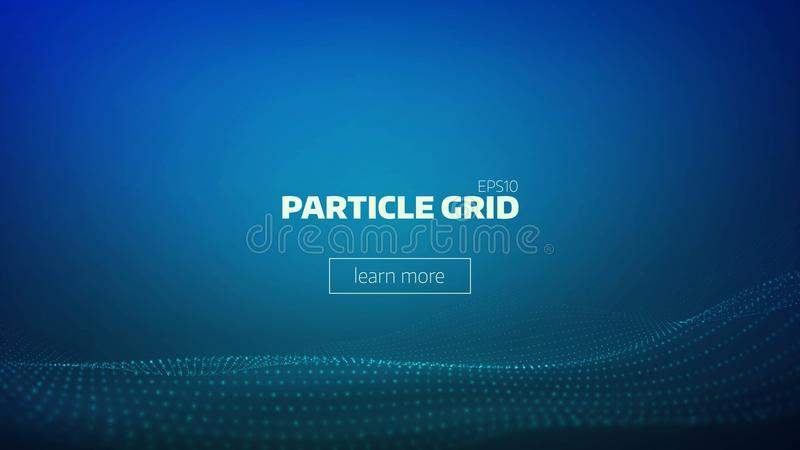 Particle grid abstract background. Technology minimal backdrop for presentation. Cyber wave vector illustration