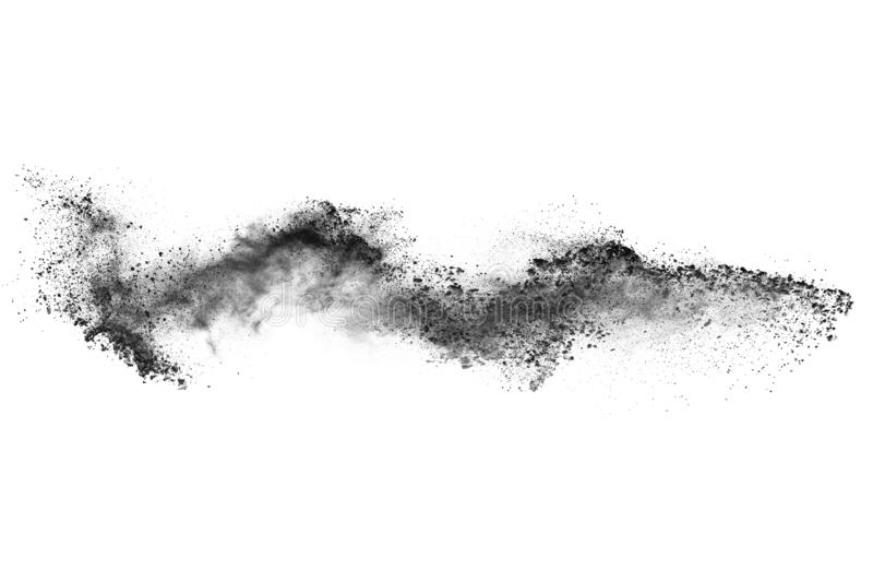 Particles of charcoal on white background. Abstract powder splatted on white background,Freeze motion of black powder exploding or throwing black powder stock photo