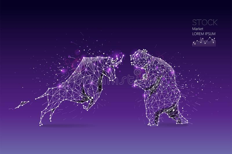 The particles, geometric art, line and dot of bear and bull vector illustration