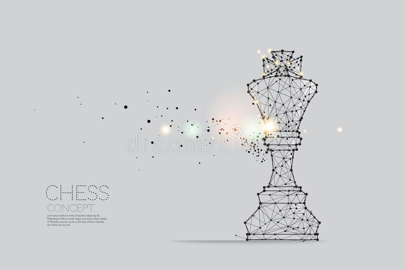 The particles, geometric art, line and dot of Chess. royalty free illustration
