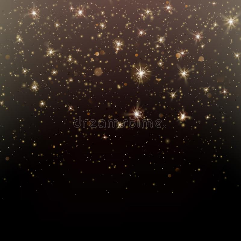 Particles glitter of gold glowing magic shine and star dust dark background. EPS 10 vector illustration