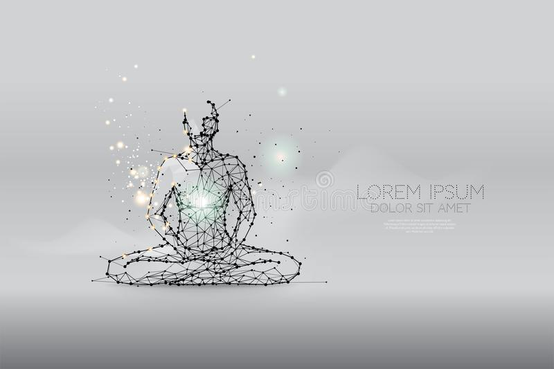 The particles, polygonal, geometric art - meditation stock illustration