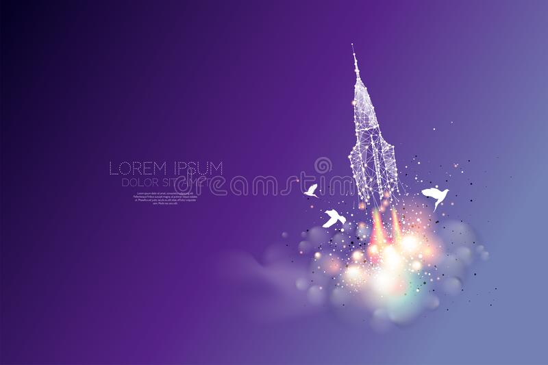 The particles, polygonal, geometric art - space shuttle releasing stock illustration