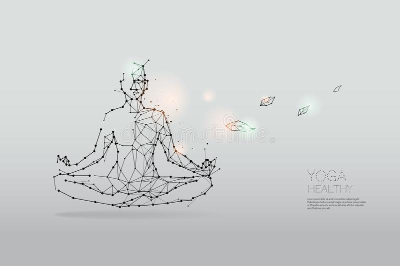 The particles, polygonal, geometric art - Yoga stock illustration
