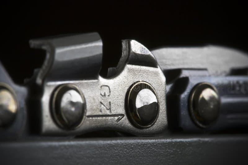Particolare Chain della sega a catena fotografia stock libera da diritti