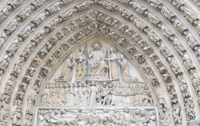 Particolare del Notre Dame de Paris della cattedrale, Francia fotografia stock libera da diritti