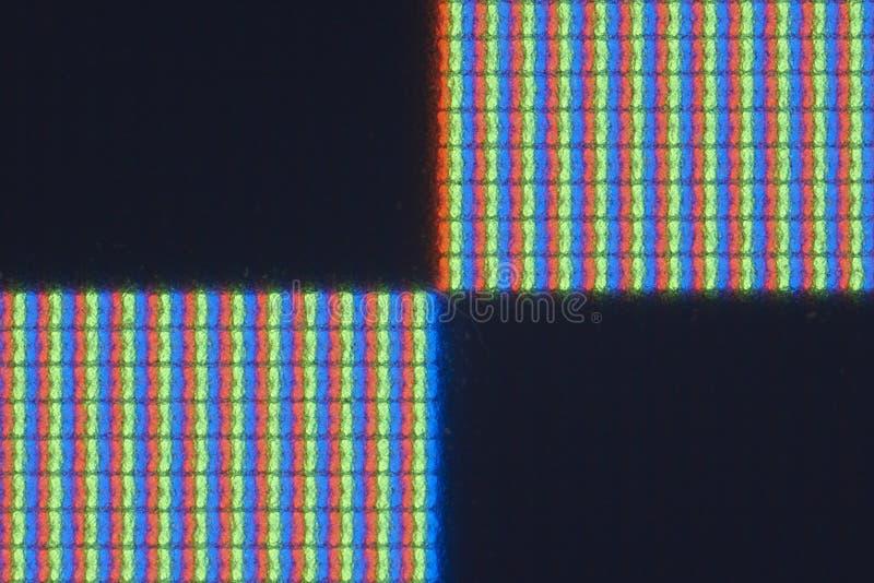 particolare del Pixel-livello dello schermo reale dell'affissione a cristalli liquidi di RGB immagine stock