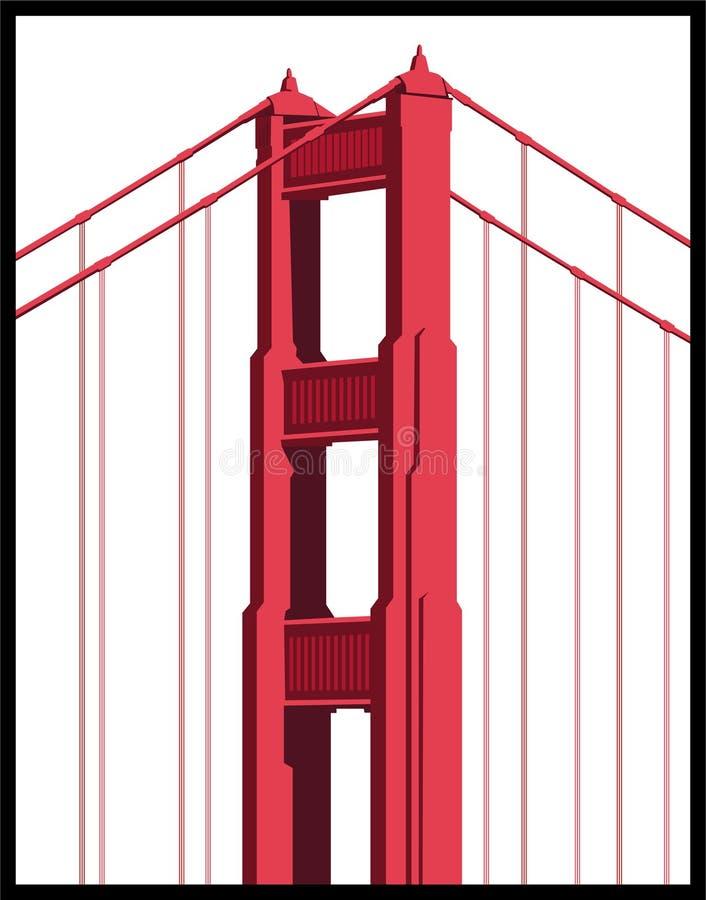 Particolare del ponticello di cancello dorato illustrazione di stock