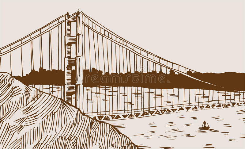 Particolare del ponticello di cancello dorato illustrazione vettoriale