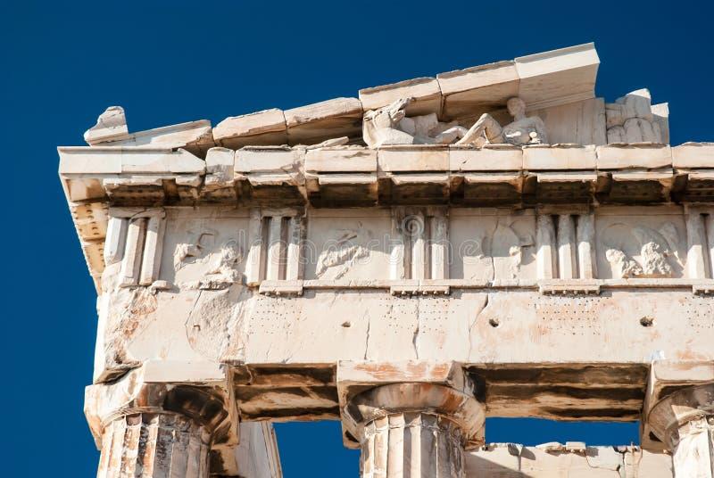 Particolare dell'acropoli del tempiale del Parthenon fotografia stock