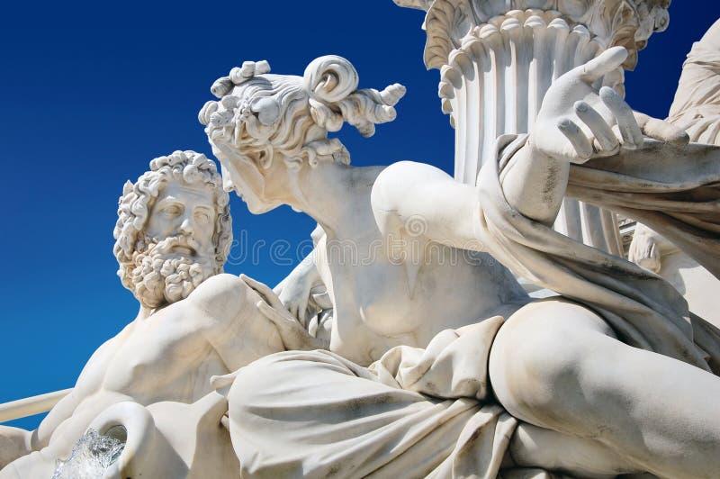 Particolare della fontana del Athene a Vienna immagine stock libera da diritti