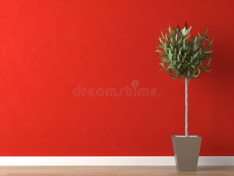 Particolare della pianta sulla parete rossa fotografie stock