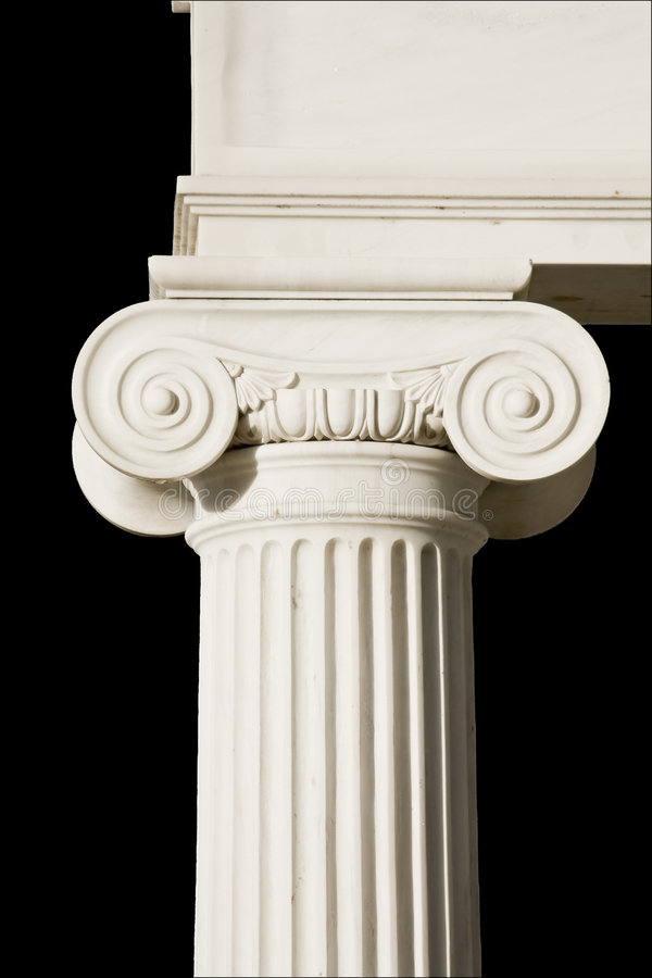 Particolare di una colonna del greco antico fotografia stock