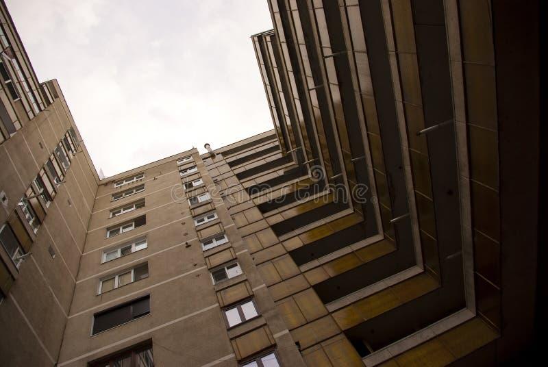 Particolare edificio di Plattenbau fotografie stock