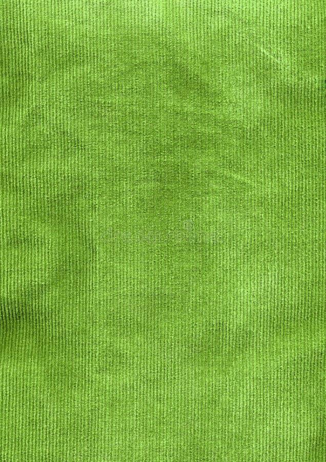 Particolare verde del tessuto del velluto a coste fotografia stock